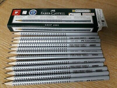 12 X faber-Castell grip Black lead Pencil 2001 2 1/2 = hb Triangular Barrel