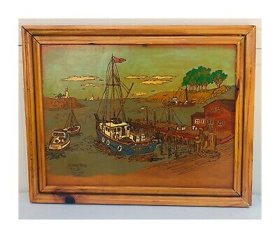 Vintage Oyster Bay Original Acrylic Painting On Wood Boats Nautical 16 X 20 1987