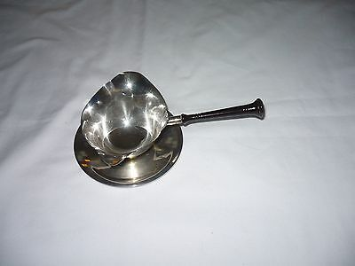 STERLING SILVER GRAVY BOAT with LADLE with STERLING DISH and WOODEN HANDLE