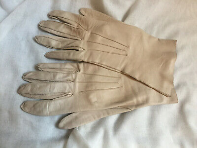 Vintage 1960s DENTS Sand Cream Kid Genuine Leather Longer Gloves Size 7