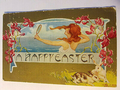 Antique Embossed EASTER Greetings POSTCARD Beautiful REDHEAD WOMAN Bunny Rabbits