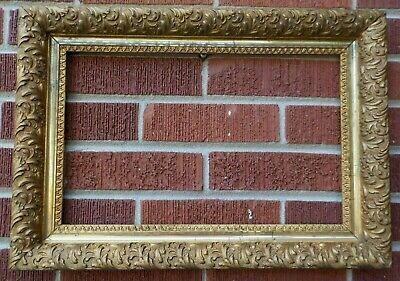 Antique Victorian Compo Gesso GOLD Rectangular Frame 10 x 16 in. fit c1880-90s