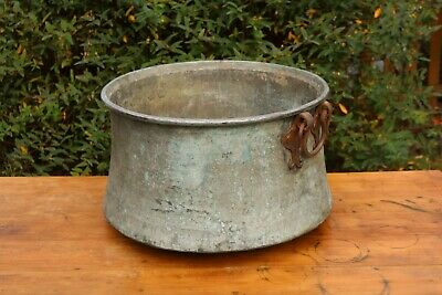 Vintage Antique Old Copper Tub Cauldron, Tin Lined, Decorative Planter #25