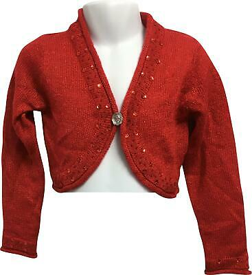 PRE-OWNED Girls Dunnes Red Sequin Cardigan Age 4 Years PJ302