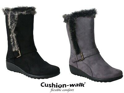 Womens Ladies Lightweight Mid Calf Fur Warm Lined Zip Up Casual New Winter Boots