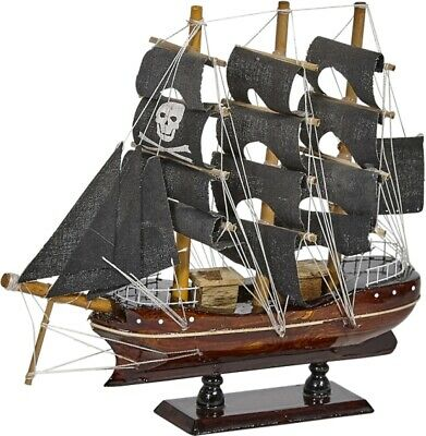 """Wooden Pirate Ship Nautical Model 10"""" Black Sails (ship is assembled)"""
