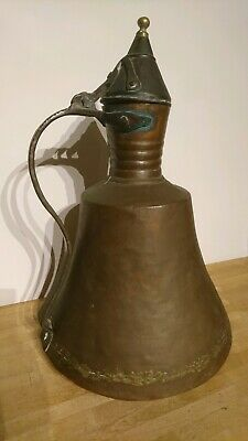 A Large & Heavy Antique Copper And Brass Bell Shaped - Hand Hammered Water Jug