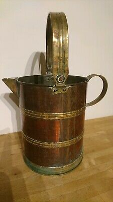 Antique Copper And Brass Hand Hammered Water Jug