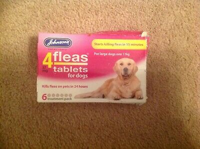 Johnson's Veterinary 4 Fleas Tablets For Dogs, 6 Tabs, Brand New.