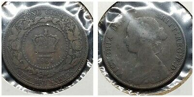1864 Canada New Brunswick One 1 Cent Queen Victoria British KM#6