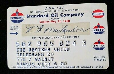 Western Union Standard Oil Credit Card exp 1958 ♡Free Shipping♡cc192