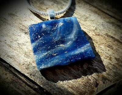 Ancient Egyptian Blue Mosaic Glass Pendant & Silver Chain 100 B.c. - 100 A.d.