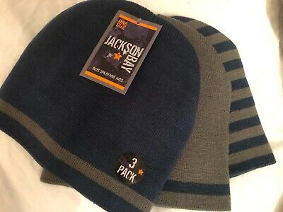 Jackson Bay Boys Beanie Hat 3pack Red