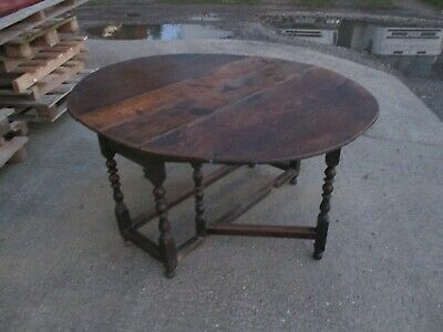 A 17th Century Oak Gateleg Dining Table Extending Folding Solid Dark Wood Stuart