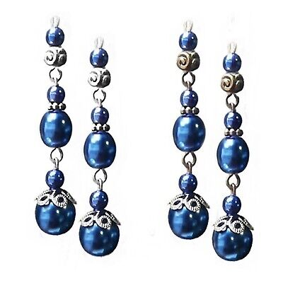 Earrings, dark navy blue, long triple drop pearl, choose clip on or pierced