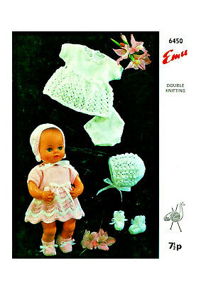 """Emu-6450  Dolls Clothes Knitting Pattern  Doll Height  30 cm / 12""""    8ply"""