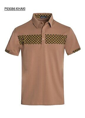 New Mens Short Sleeve Polo Shirt Slim Fit Black Button Neck Cotton Checker Tears