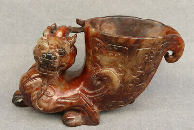 China Exquisite Hand carved beast Carving Hetian jade cup