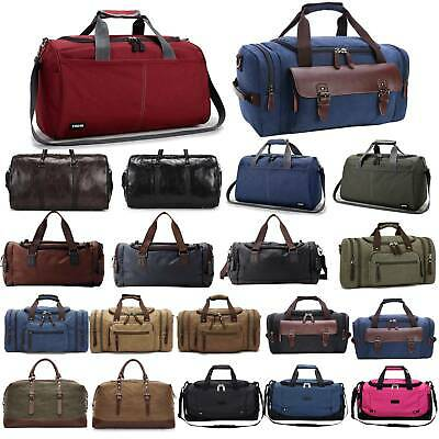 Men's Canvas Leather Travel Duffle Bag Weekend Gym Carry On Workout Tote Luggage