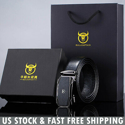 Mens Belt Genuine Leather Automatic Buckle Ratchet Waistband with Gift Box Black