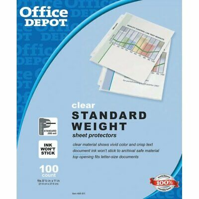 """100 Clear Std Weight Sheet Plastic Letter Page Protectors Office 8.5 x 11"""" Pack"""