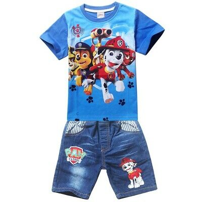 Boys Paw Patrol blue top tee denim shorts set outfit summer size 2-6 new