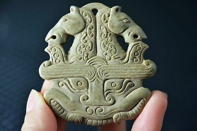 Ancient Chinese Old Jade Nephrite Carved *Dragon&Horses Head* Pendant   Z1