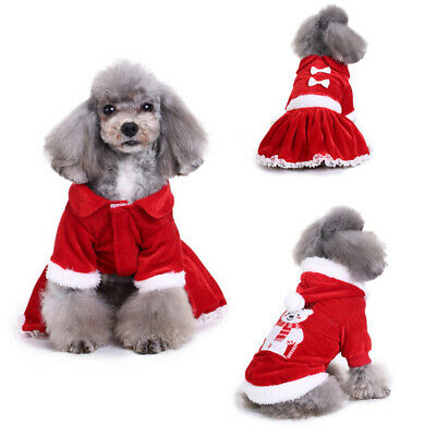 Pet Puppy Dog Cute Christmas Xmas Clothes Hoodie Dress Warm Costumes Apparel