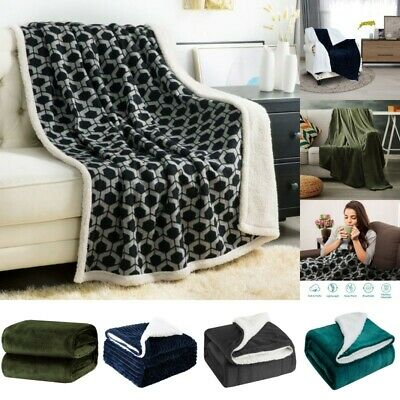 Flannel Fleece Sherpa Blanket Twin Queen Throw Soft Plush Sofa Bed Thickened Rug