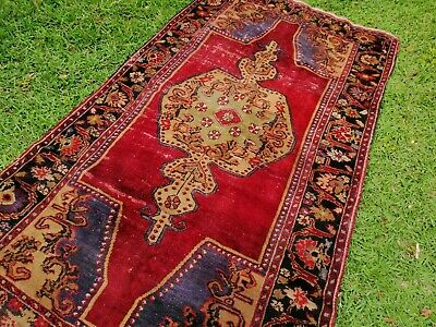 Antique/vintage pure wool red and olive green Turkish rug
