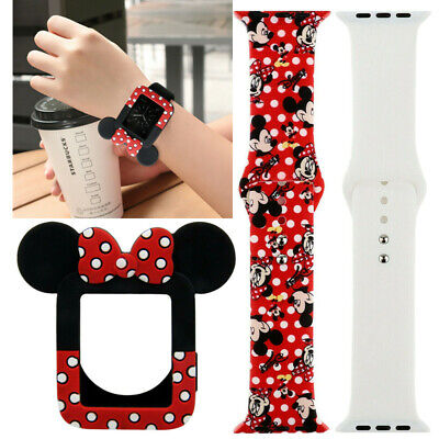 Silicone Mickey Mouse Watch Band+Minnie Protective Case For iWatch Series 5 4 3