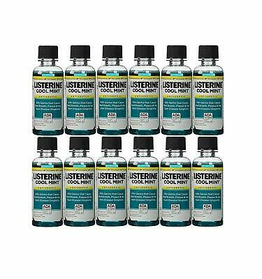 Listerine Cool Mint Antiseptic Mouthwash for Bad Breath, Travel Size - 12 Pack