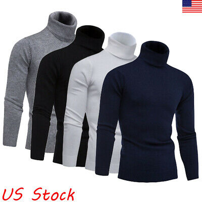 Men Long Sleeve Thermal Cotton High Collar Skivvy Turtle Neck Sweater Winter US