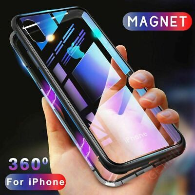 360° Magnetic Metal Frame Tempered Glass Case Cover For iPhone 11Pro MAX XR X 7P