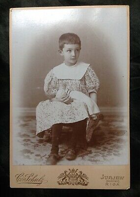 Charming Sweet Cabinet Card Photo Girl Child Antique German Bisque Doll Riga