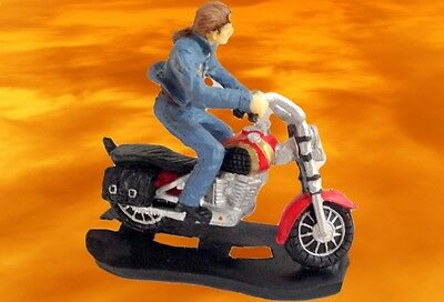 Harley + Rocker Figure Cast Iron Motorcycle Stand up Sculpture for Nostalgia