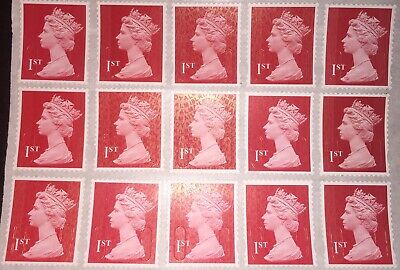 100x 1st First Class Red Unfranked Stamps. Full Original Gum