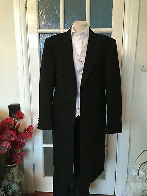 Classic Black Herringbone Frock Coat Wedding/Formal 40R