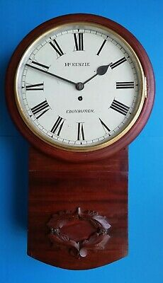 #042 ANTIQUE McKENZIE OF EDINBURGH CHAIN FUSEE DROP DIAL WALL CLOCK