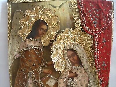 """19th century Orthodox Hand Painted Wood Icon """"Annunciation"""". Large: 42 * 30 cm."""