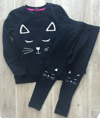 Cat Sweater And Leggings. Black. Age 6-7. Great for Halloween!