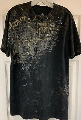 Affliction Archaic Graphic Men's Short Sleeve T-Shirt With Studs Black Large