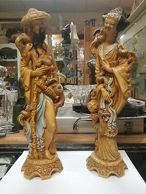 Pair Of Resin Chinese Figures