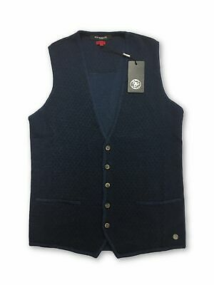 Roy Robson slim fit knitted waistcoat in blue dot pattern