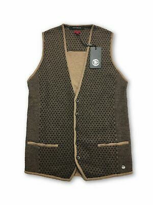 Roy Robson slim fit knitted waistcoat in brown dot pattern