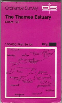 Ordnance Survey Map Sheet 178 The Thames Estuary Southend 1974 First Series OS