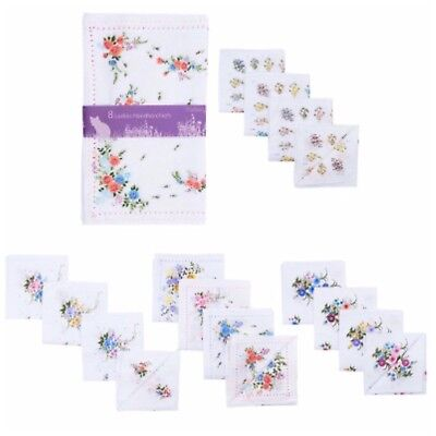Ladies Hankies Handkerchiefs White Floral Print Cotton Polyester 8 Pack