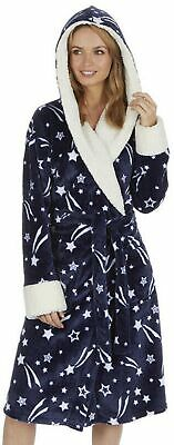 Ladies Navy Shooting Star Soft Fleece Dressing Gown Bath Robe Hooded Warm lush