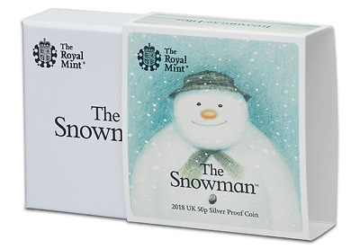 2018 The Snowman 50p Fifty Pence Silver Proof Coin Boxed + COA Brand New.