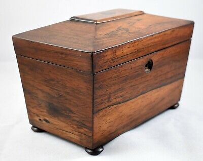 Antique Rosewood Sarcophagus Tea Caddy